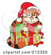Royalty Free RF Clipart Illustration Of A Cute Christmas Cat On A Present