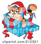 Royalty Free RF Clipart Illustration Of A Cute Christmas Cat In A Present