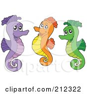 Royalty Free RF Clipart Illustration Of A Digital Collage Of Three Colorful Seahorses by visekart