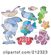 Royalty Free RF Clipart Illustration Of A Digital Collage Of A Ray Fish Shell Seahorse Starfish Shark Crab And Octopus by visekart