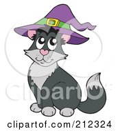 Royalty Free RF Clipart Illustration Of A Halloween Cat Wearing A Witch Hat