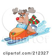 Royalty Free RF Clipart Illustration Of A Reindeer Riding A Snowmobile
