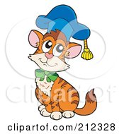 Royalty Free RF Clipart Illustration Of A Cat Professor Wearing A Blue Hat
