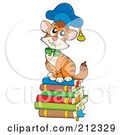 Royalty Free RF Clipart Illustration Of A Cat Professor Sitting On A Stack Of Books