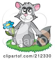 Royalty Free RF Clipart Illustration Of A Cute Raccoon Sitting In Grass And Holding A Flower by visekart