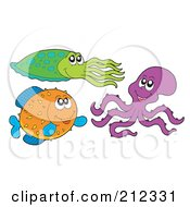 Royalty Free RF Clipart Illustration Of A Digital Collage Of A Squid Octopus And Puffer Fish by visekart