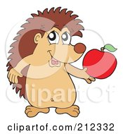 Royalty Free RF Clipart Illustration Of A Cute Hedgehog Holding An Apple by visekart