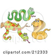 Royalty Free RF Clipart Illustration Of A Digital Collage Of Three Snakes by visekart