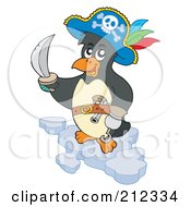 Royalty Free RF Clipart Illustration Of A Cute Penguin Pirate Holding A Sword And Standing On An Iceberg