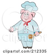 Royalty Free RF Clipart Illustration Of A Culinary Chef Pig Holding A Spoon