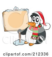 Cute Penguin With A Scarf And Hat By A Blank Sign