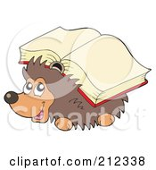 Royalty Free RF Clipart Illustration Of A Cute Hedgehog Carrying A Book On His Back by visekart