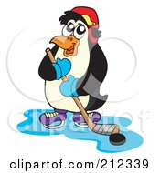 Royalty Free RF Clipart Illustration Of A Penguin Playing Ice Hockey by visekart