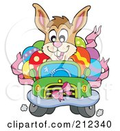 Royalty Free RF Clipart Illustration Of A Happy Easter Rabbit Driving A Car Full Of Eggs