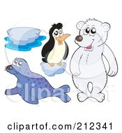 Royalty Free RF Clipart Illustration Of A Digital Collage Of Ice A Penguin Polar Bear And Seal by visekart