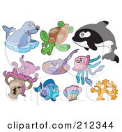 Royalty Free RF Clipart Illustration Of A Digital Collage Of A Seal Sea Turtle Orca Octopus Ray Fish Shell Jellyfish And Coral