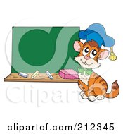 Royalty Free RF Clipart Illustration Of A Cat Professor Sitting By A Chalk Board