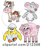 Royalty Free RF Clipart Illustration Of A Digital Collage Of A Cow Mouse Hatching Chick And Pig
