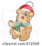 Royalty Free RF Clipart Illustration Of A Christmas Teddy Bear Wearing A Scarf by visekart