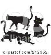Royalty Free RF Clipart Illustration Of A Digital Collage Of Three Green Eyed Black Cats