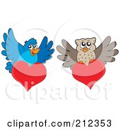 Royalty Free RF Clipart Illustration Of A Digital Collage Of Blue Bird And Owl Valentines