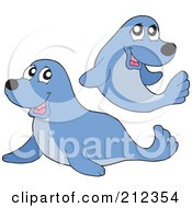 Royalty Free RF Clipart Illustration Of A Digital Collage Of Two Blue Seals by visekart