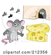 Royalty Free RF Clipart Illustration Of A Cute Gray Mouse By Cheese And A Hole