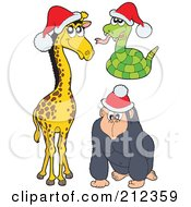 Royalty Free RF Clipart Illustration Of A Digital Collage Of A Christmas Giraffe Snake And Gorilla by visekart