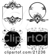 Clipart Illustration Of Four Floral Tags In Circles And Rectangles