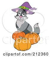 Royalty Free RF Clipart Illustration Of A Halloween Cat Wearing A Witch Hat And Sitting By Pumpkins