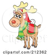 Royalty Free RF Clipart Illustration Of A Christmas Elk Wearing A Scarf