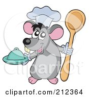 Royalty Free RF Clipart Illustration Of A Cute Gray Chef Mouse With A Platter And Spoon