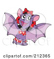Royalty Free RF Clipart Illustration Of A Purple Female Vampire Bat In A Polka Dot Bikini