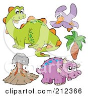 Royalty Free RF Clipart Illustration Of A Digital Collage Of Dinos And A Volcano