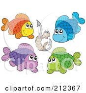 Royalty Free RF Clipart Illustration Of A Digital Collage Of Four Fish And A Worm On A Hook by visekart