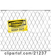 Yellow Sign On A Wire Fence Reading Warning Private Property Keep Out