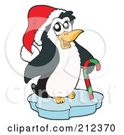 Cute Christmas Penguin On Ice With A Candy Cane