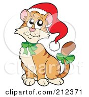 Royalty Free RF Clipart Illustration Of A Cute Christmas Cat Wearing A Santa Hat And Green Bows