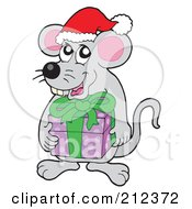 Royalty Free RF Clipart Illustration Of A Christmas Mouse Holding A Gift