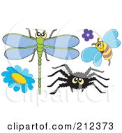 Royalty Free RF Clipart Illustration Of A Digital Collage Of A Dragonfly Bee Spider And Flowers by visekart
