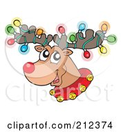 Royalty Free RF Clipart Illustration Of Colorful Lights On A Reindeers Antlers