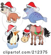 Digital Collage Of A Christmas Dog Seal Penguin And Horse