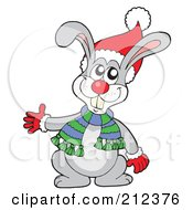 Royalty Free RF Clipart Illustration Of A Happy Christmas Rabbit Waving