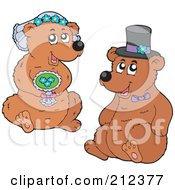 Royalty Free RF Clipart Illustration Of A Digital Collage Of A Bear Bride And Groom