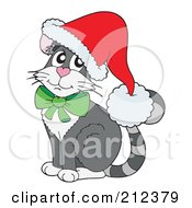 Royalty Free RF Clipart Illustration Of A Gray Christmas Cat Wearing A Santa Hat