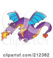 Royalty Free RF Clipart Illustration Of A Purple Fire Breathing Dragon In Flight