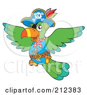 Royalty Free RF Clipart Illustration Of A Flying Pirate Parrot