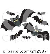 Royalty-Free (RF) Clipart Illustration of a Swarm Of Black Flying Bats And Yellow Eyes by visekart