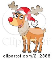 Royalty Free RF Clipart Illustration Of A Happy Reindeer With A Red Nose And Santa Hat