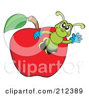 Royalty Free RF Clipart Illustration Of A Green Worm Waving From An Apple by visekart